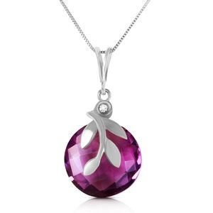 NECKLACE WITH CHECKERBOARD CUT AMETHYST & DIAMOND